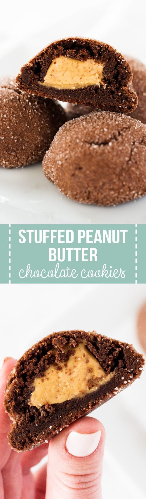 Stuffed peanut butter chocolate cookies have the best of both worlds. The chewy chocolate cookies have a peanut butter surprise inside!