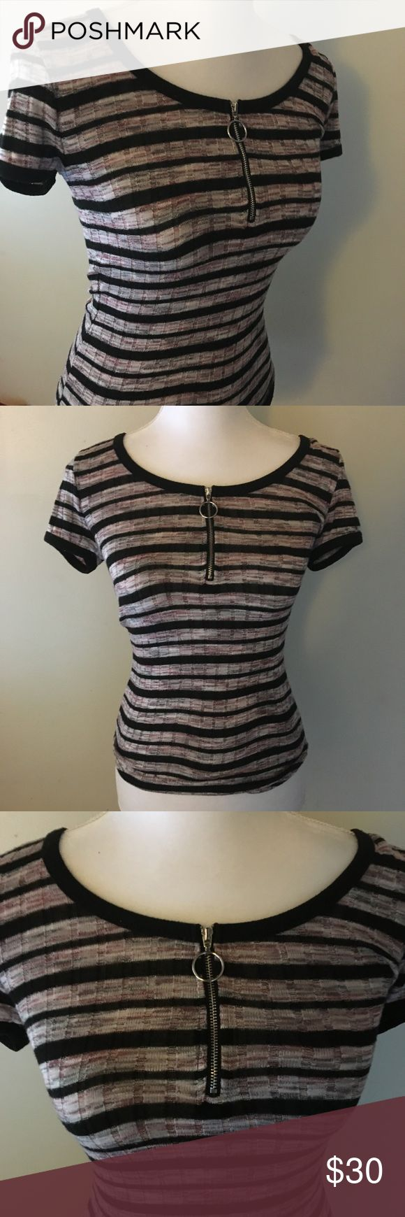 Striped Zip Up Shirt NWOT Super soft maroon, black, and gray striped shirt with quarter zip up. No flaws Forever 21 Tops