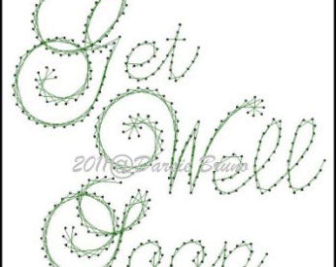 Get Well Soon Sentiment papieren borduurwerk patroon voor wenskaarten