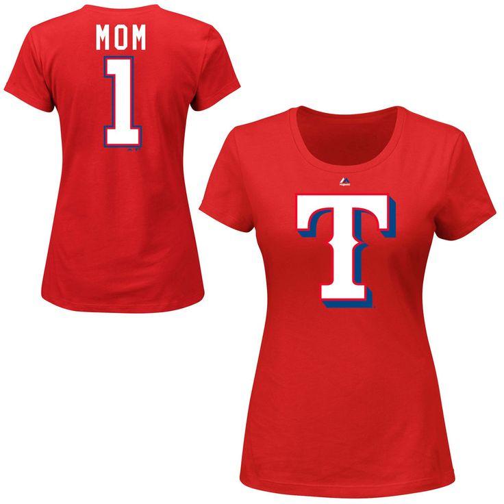 Majestic Texas Rangers Women's Red #1 Mom T-Shirt