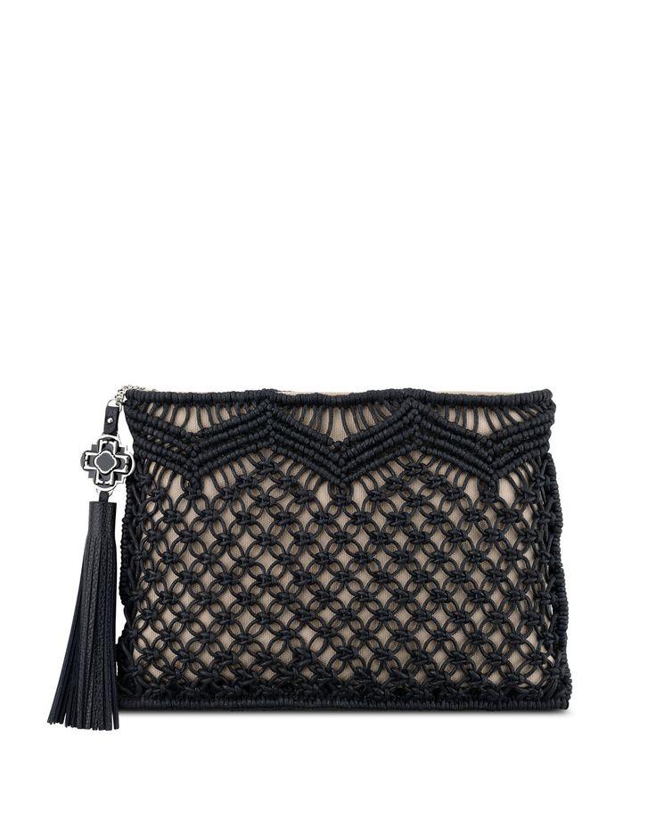 Rafe Celia Large Macrame Clutch Bag, Natural/Black
