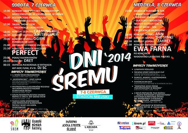 Dni Śremu 2014 - program, data, gwiazdy: Perfect, Ewa Farna, Ann, Zakręt, Camping Hill, Dret