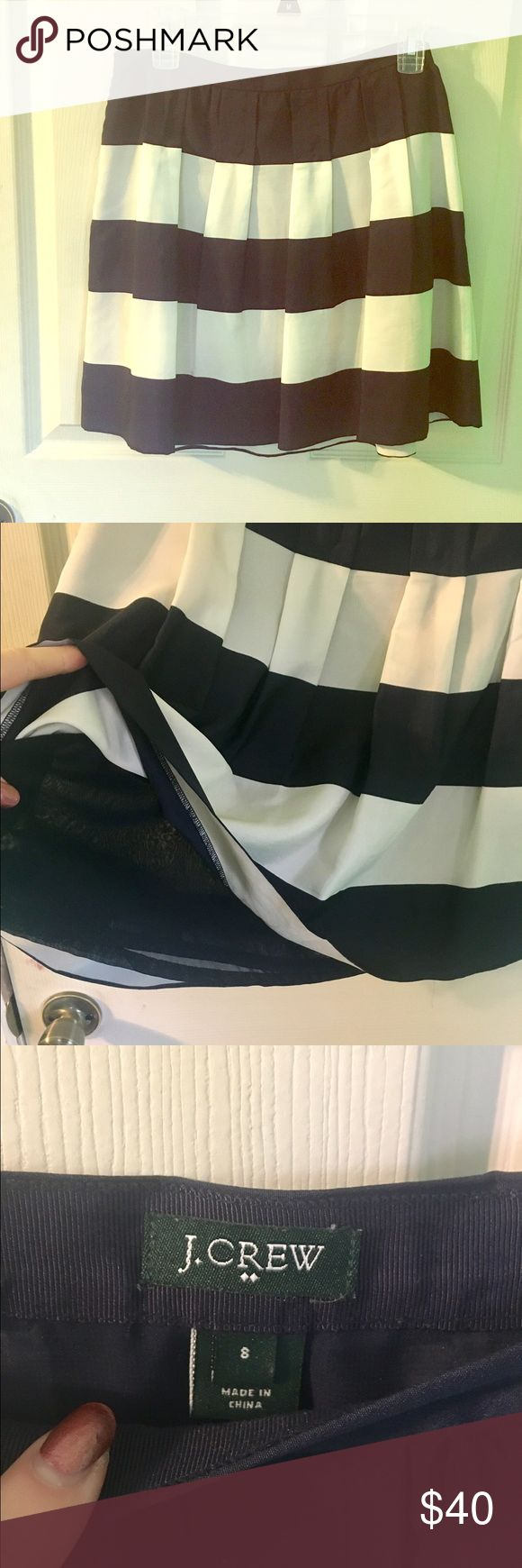 JCrew Nautical Skirt Adorable JCrew navy & white striped skirt. Size 8, great conditions. Zip up closure and side pockets. J. Crew Skirts