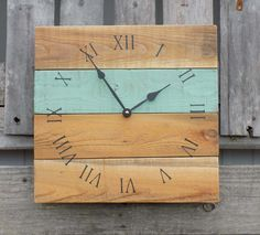 Primitive Clock, Beach Style Clock, Rustic Wood Clock, Sea Foam Green Clock, Pallet Clock, Wood Wall Clock, Shabby Chic clock