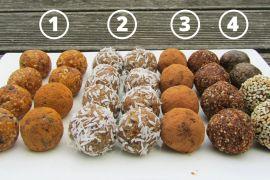 4 dietní recepty na raw kuličky čtyř chutí