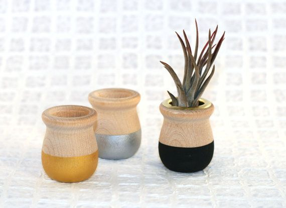 3 Paint Dipped Wooden Cups / candle cups wooden hand painted paint dipped air plant container small planter on Etsy, $13.75 AUD