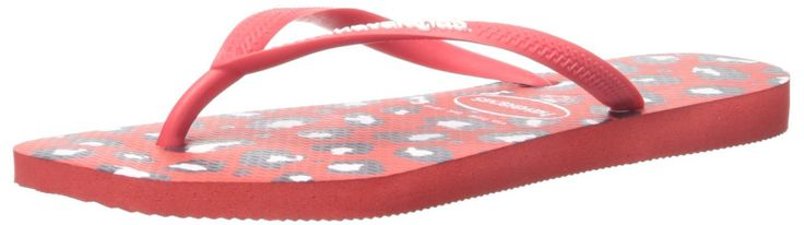 Havaianas Women's Slim Animals Aus Flip Flop, Ruby Red, 37 BR/7-8 M US. Three-point flip-flop featuring slim textured strap with contrast Havaianas logo and animal-pattern footbed.