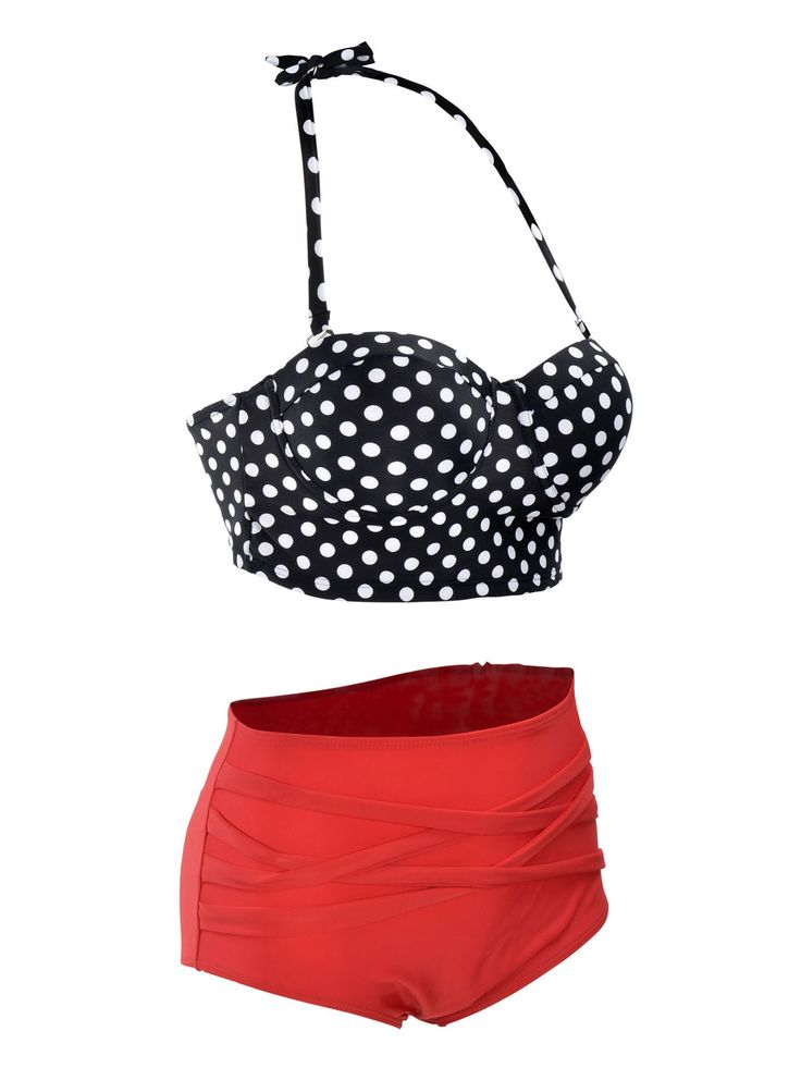 Vintage 50s High Waist Bikini Set, Polkadots / Stripes