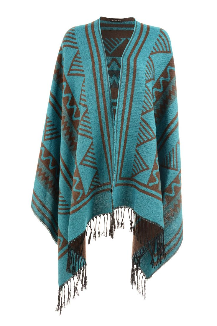 Jayley Luxury Aztec Shawl Blue