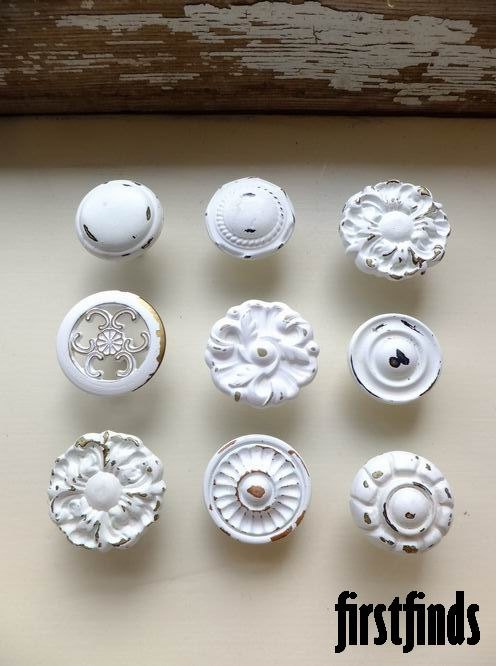 9 Misfit Knob Set Shabby Chic White Vintage Furniture Drawer Pulls Kitchen Cabinet Knobs Cupboard Hardware. via Etsy.