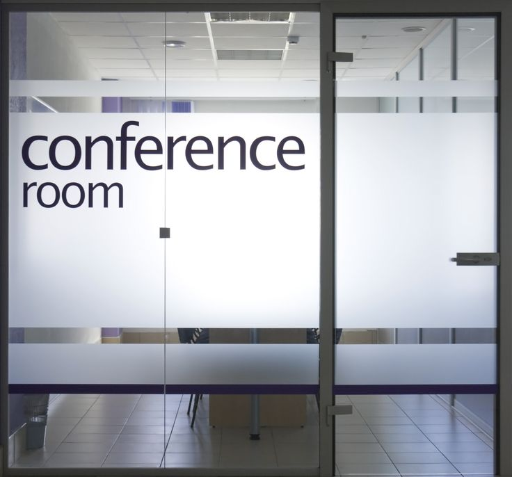 Glass door and window into conference room