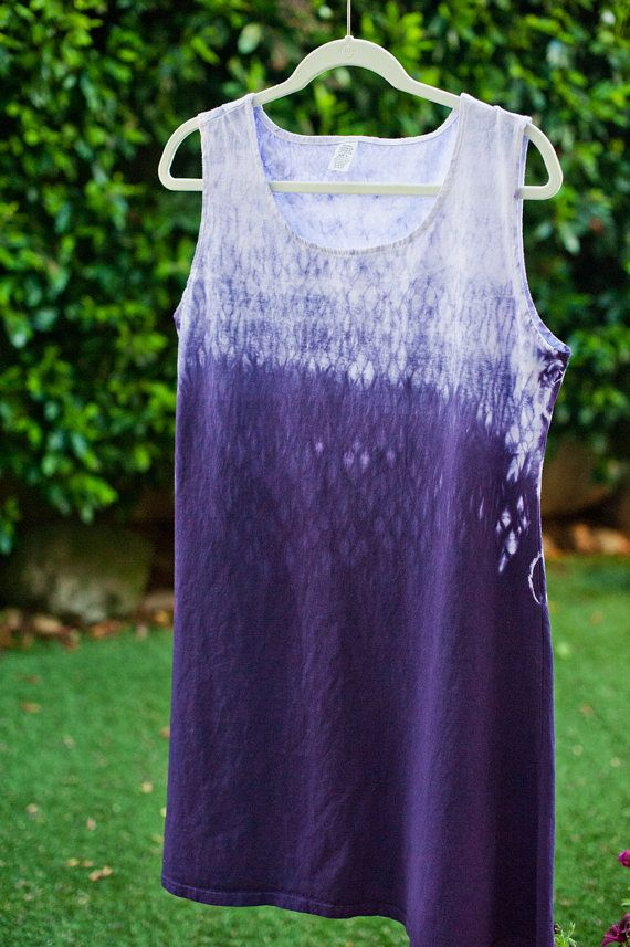 Shibori  PURPLE Tank A-Line Summer Dress, circles - LARGE