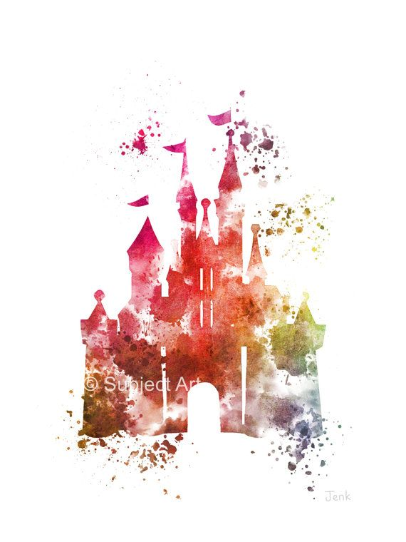 Cinderella Castle ART PRINT 3ème illustration Edition, Disney, princesse, technique mixte, Home Decor, pépinière, Kid