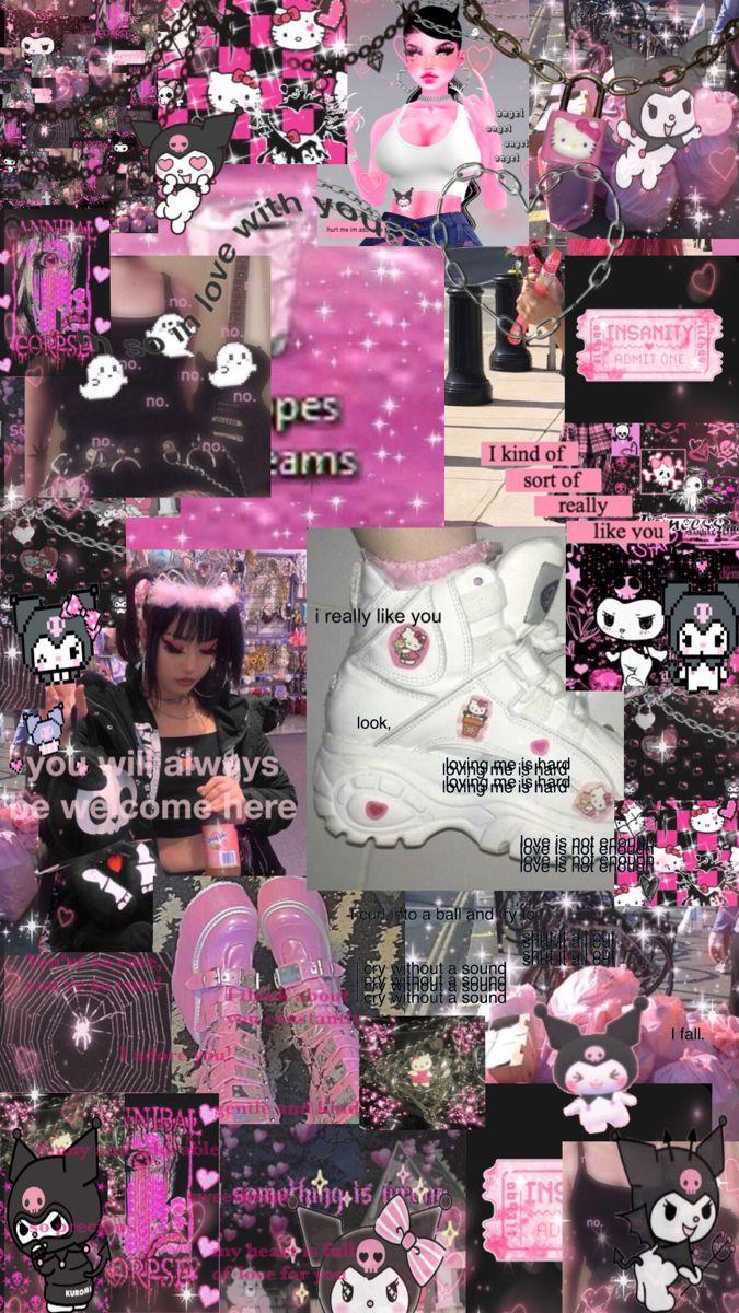 Pink Mallgoth Aesthetic Wallpaper Goth Wallpaper Emo Wallpaper Hello Kitty Iphone Wallpaper