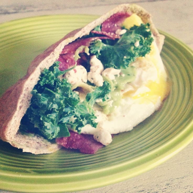 Quick and easy! Fried an egg. Added kale, turkey bacon, guacamole and ...