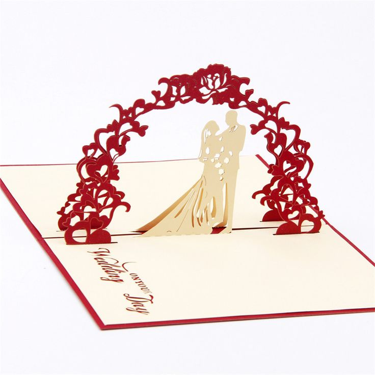 Features: - Newly Married Couple Embracing & Gazing Lovingly under Wedding Arch. - High-Quality Pup Up Card, Open it and show 3D effect. - It can be kept flat and opened when required recreating the m