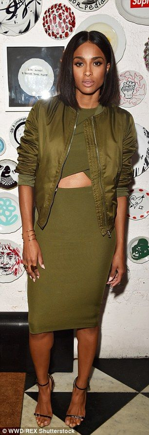 Autumnal: Ciara and Irina Shayk looked stunning in figure hugging dresses at the Topshop dinner for Ciara on Thursday during New York Fashion Week