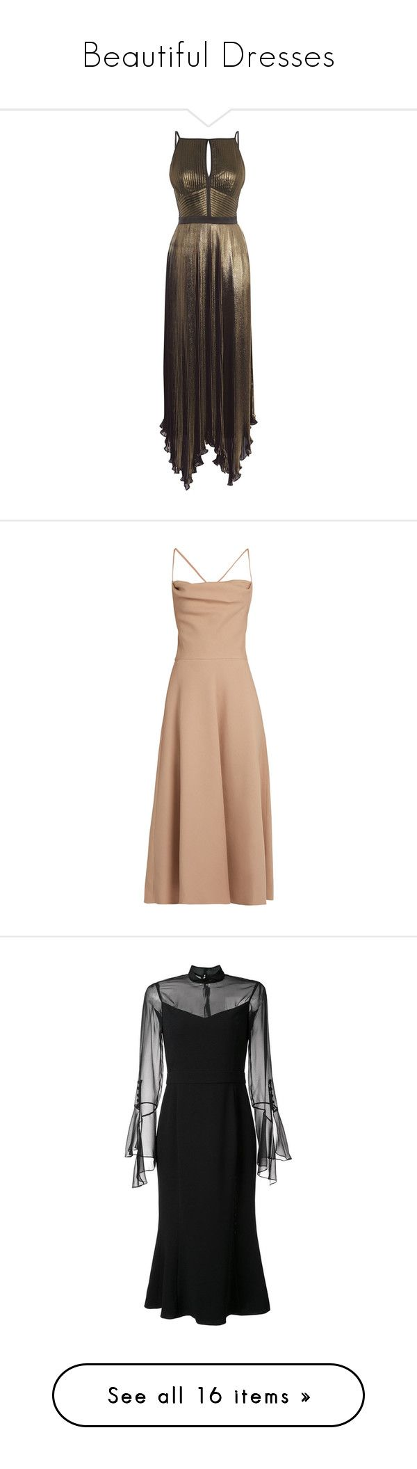 """Beautiful Dresses"" by kathy-boykin ❤ liked on Polyvore featuring dresses, bronze, clearance, brown dress, pleated dress, lined maxi dress, low back maxi dress, metallic maxi dress, gown and vestidos"