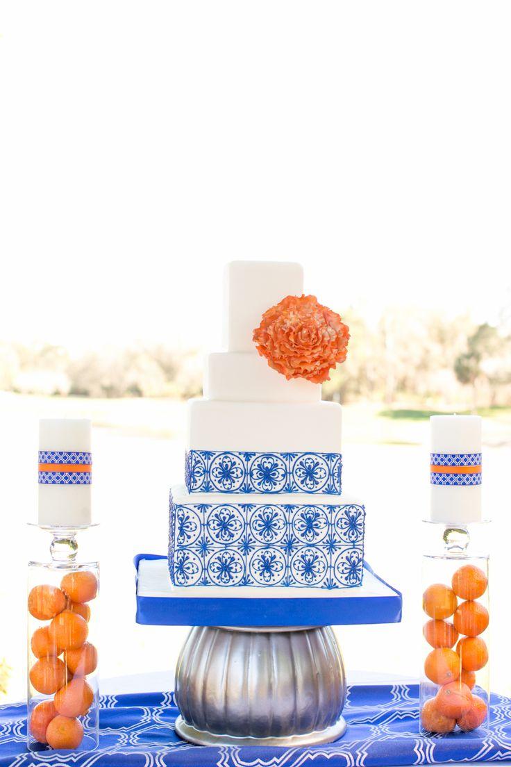 Spanish style orange and blue wedding cake Mission inn wedding www.AmalieOrrangePhotography.com