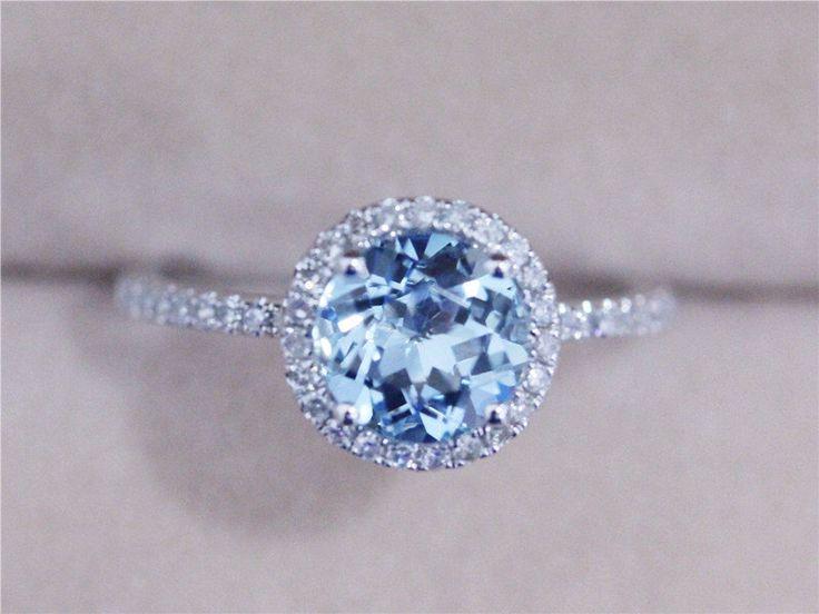 7mm Blue Aquamarine Ring Solid 14K White Gold Round Aquamarine Ring Wedding Ring Diamond Engagement Ring Promise Ring by AbbyandWills on Etsy https://www.etsy.com/listing/198368428/7mm-blue-aquamarine-ring-solid-14k-white