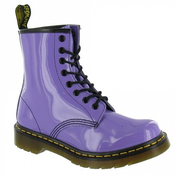 Dr Martens 1460 W Womens Patent Leather Boots Lilac ❤ liked on Polyvore featuring shoes, boots, dr. martens, dr martens footwear, lilac boots, dr martens shoes and patent shoes