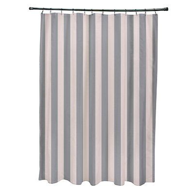 e by design Striped Shower Curtain Color: Shell/Classic