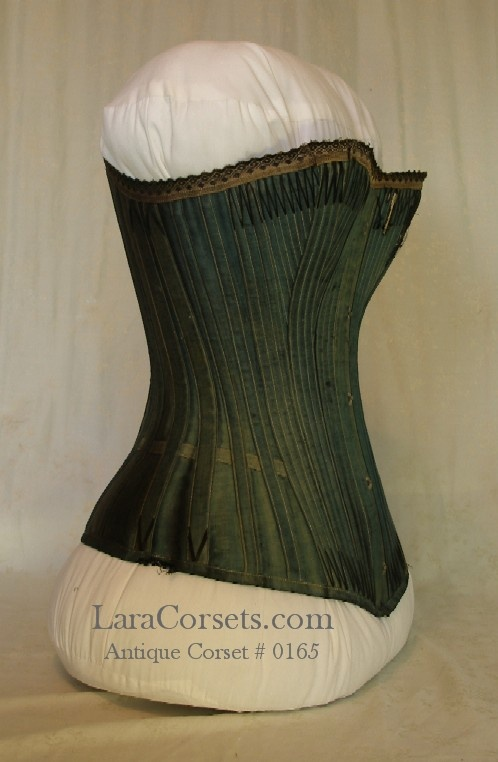 "Stunning...Classic late Victorian corset by C/B a la Spirite  32"" bust  and 21"" waist  Printed on the interior waistband: ""C/B a la Spirite Awarded Gold Medals: Paris Exposition 1889, Chicago 1893."""