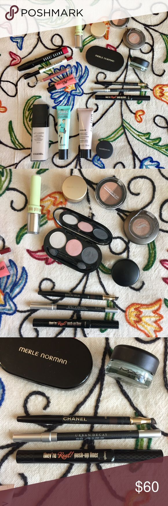 High End Makeup Bundle 💋💋💋💋 Bobbi Brown, Urban Decay, Chanel, Benefit, Mac, Bare Minerals and more! All in great condition 🙏 The Elizabeth Arden and Bobbi Brown lip pencils can be shaved for sanitation along with the Chanel, Benefit and Urban Decay eyeliners. Pore Professional has barely been used along with the Mary Kay luminous-wear foundation. The Merle Norman eyeshadow has been lightly swatched. Plenty of Bare Minerals bronzer left. Chanel foundation is about half full. Mac paint…