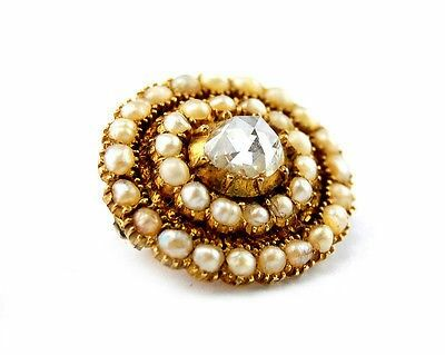 Antique Georgian Lace Brooch 1+ct Rose cut Diamond 8 grams 14k gold natural pearls. 18th century
