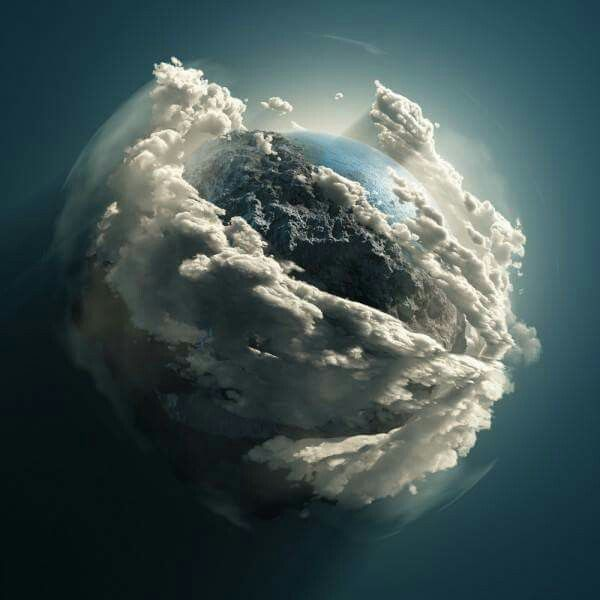 "Another totally fake image showing Photoshopped clouds ten plus higher than the atmosphere. Labeled ""Earth, seen from the Hubbell telescope"", even though the satellite's orbit would be buried at the bottom of the fake clouds."