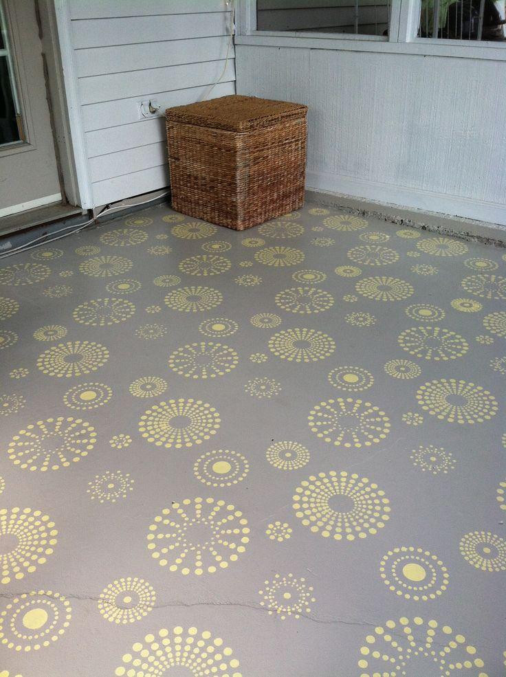 Sunroom floor painted with stencil concrete floor for Sunroom flooring ideas