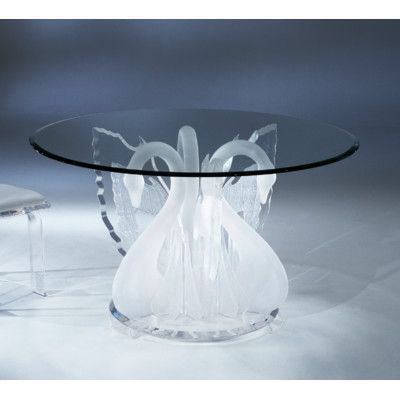 Shahrooz Acrylic Legend Swan Acrylic Round Dinette Dining Table Base