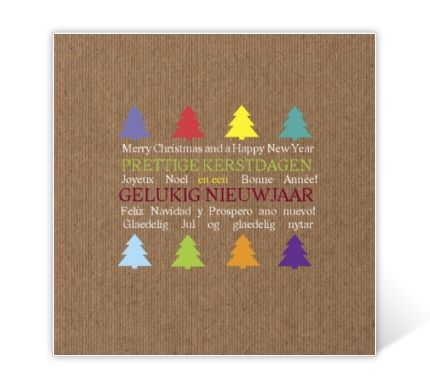 Kraft Christmas card with colourful Christmas trees