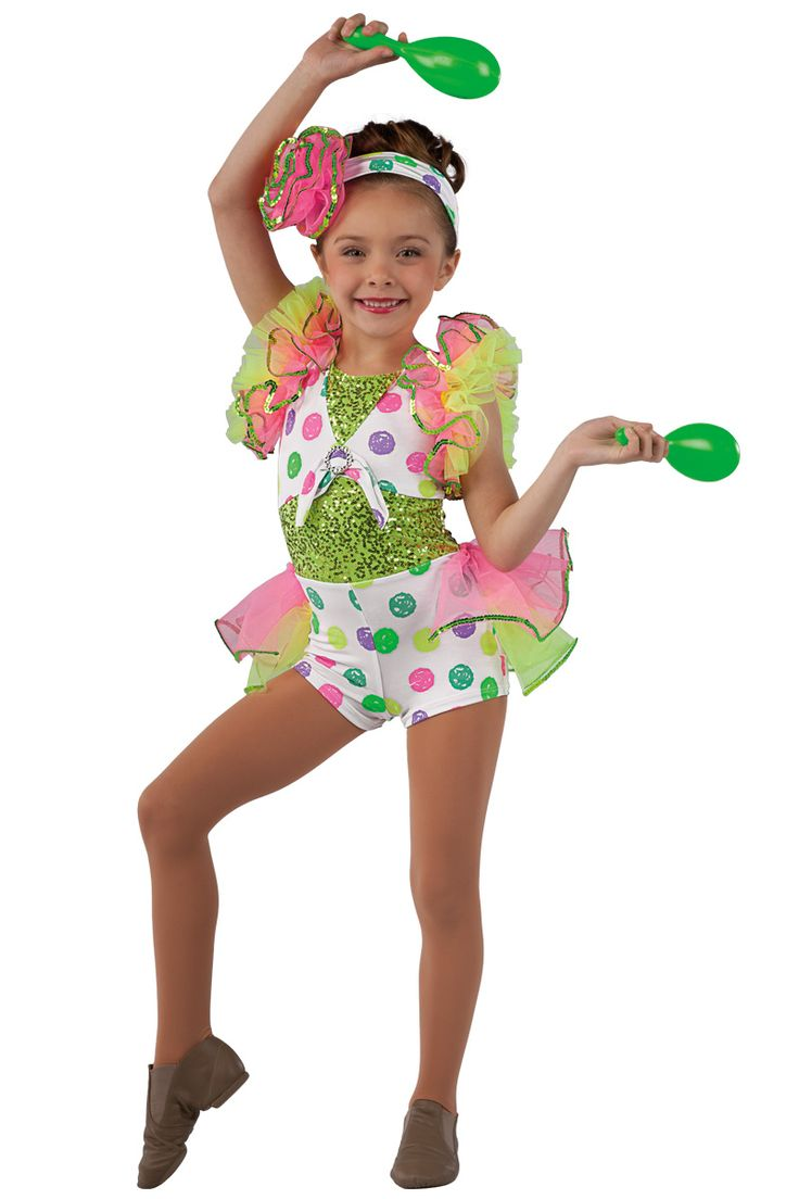 15160 Do That Conga | Kids Showcase / First Performance / Dance Costumes / Recital Wear | Dansco 2015 | Neon printed spandex short unitard with lime sequin on spandex inserts. Attached hot pink over lime chiffon bustle and ruffle sleeves. Lime sequin and silver buckle trim. Headpiece included.