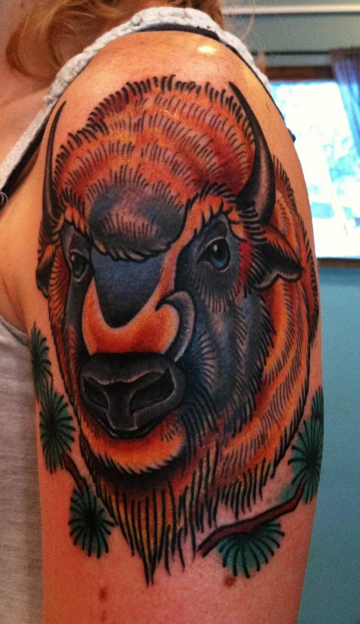 Top 25 ideas about bison tattoo on pinterest buffalo for Traditional bison tattoo
