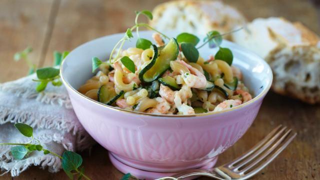 Oppskrift på Pasta med reker og squash, foto: Synøve Dreyer kilde: