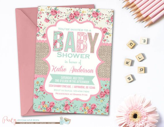 Burlap Shabby Chic Baby Shower Baby Shower By PartyInvitesAndMore