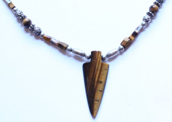 Vintage Silver & Tiger's Eye Beaded Native American by paststore
