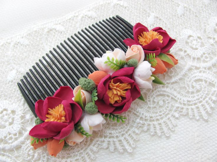 Flower hair Comb, Comb, hair comb, hair accessories, flovers, accessories, claycraft by deco, clay, polymer clay, by MarinaShestorkina on Etsy