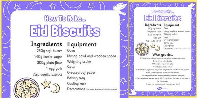 Making Eid Biscuits Recipe Sheet - making, eid biscuits, recipe