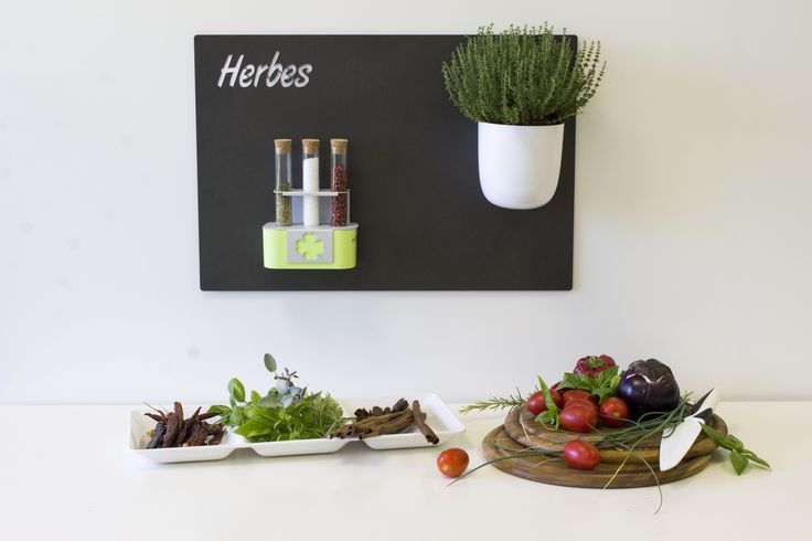 HERBES - KITCHEN KIT   The mediterranean diet is based on a lot of spices which add flavour and aroma to the food without making it heavier. Therefore spices cannot miss in your kitchen and you have to place them in the right spot. They will also make the room more colorful and elegant.