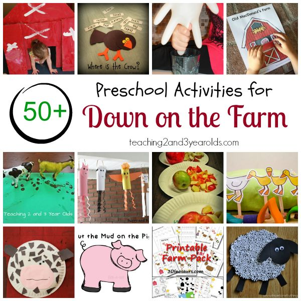 Preschool farm theme - over 50 picture books, songs, and activities for kids from Teaching 2 and 3 Year Olds.