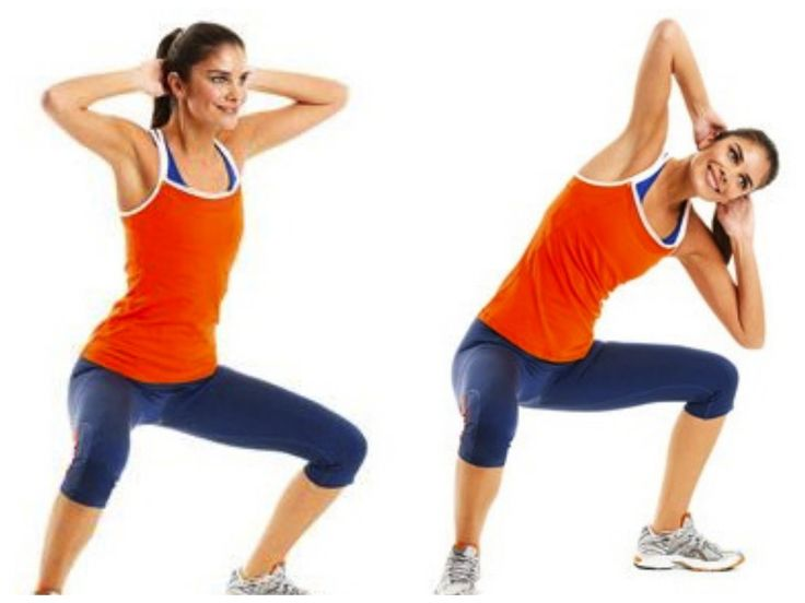Sumo Side Crunch (abs/obliques, bum & inner thighs) 1.Stand in 2nd position w/ hands behind head. 2.Lower into a sumo squat. 3.Maintaining squat, bend laterally to the Right, bringing Right elbow to Right knee. 3.Bend laterally to the Left, bringing Left elbow to Left knee. Do 2 sets of 10 reps.