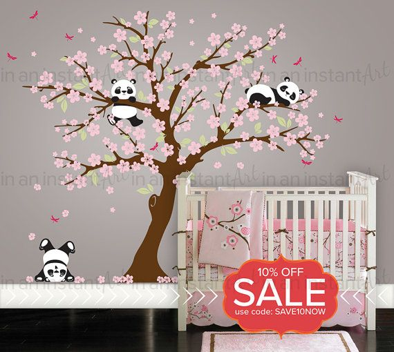 Cherry Blossom Wall Decal Playful Pandas in von In…