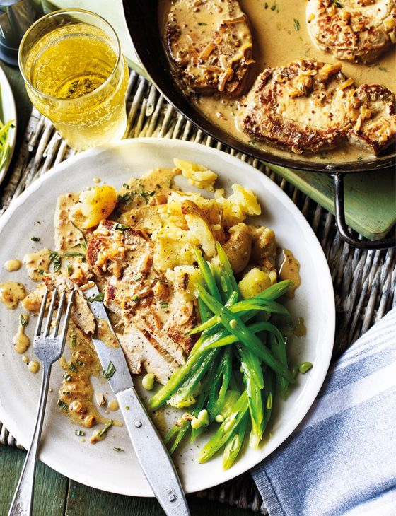 Pork loin steaks in cider and tarragon sauce - Crushed new potatoes and runner beans are a lovely accompaniment to the pork