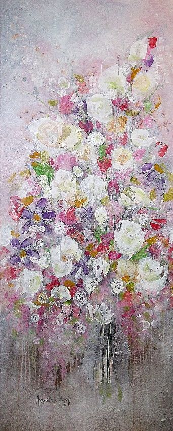 'sweet peas and roses' 1500 x 600 mixed media on canvas available