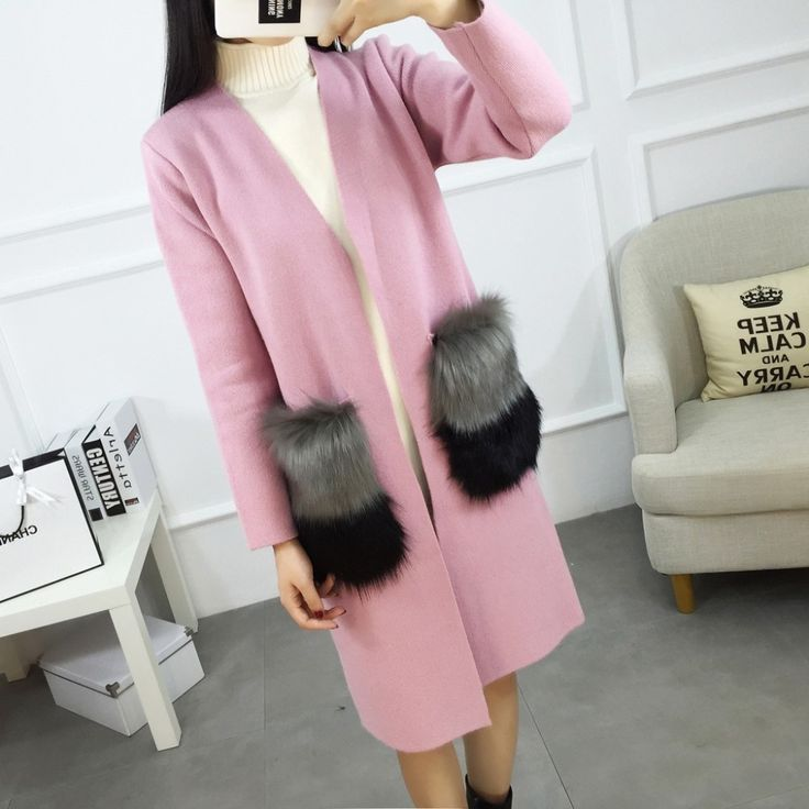 Women Cardigan New Autumn Female Cashmere Cardigan Long Sweater V-Neck Knit Shirt Slim Version Of The Big Yards coat fox fur