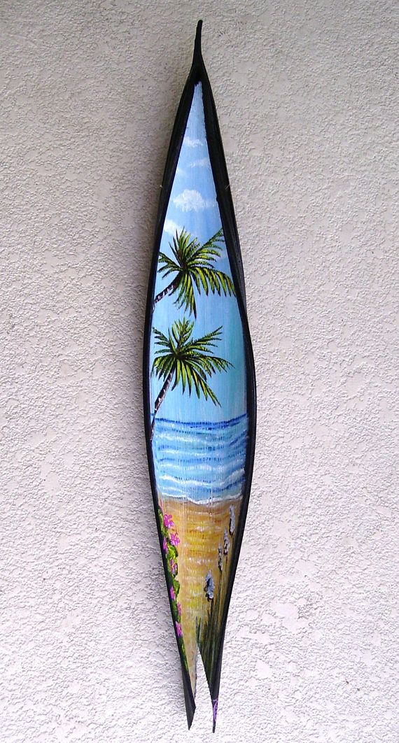 Palm Tree Beach Scene on Seed Pod Hand Painted Palm Frond