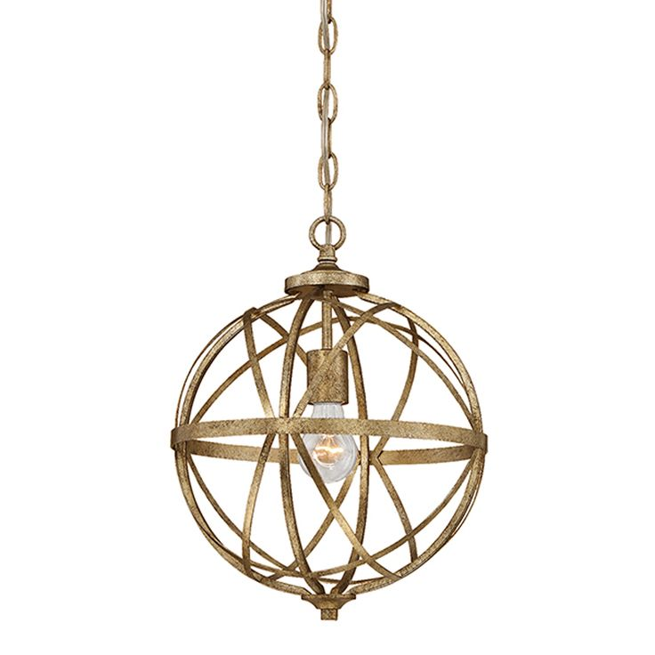 Millennium Lighting Lakewood 12-in Vintage Gold Industrial Single Orb Pendant