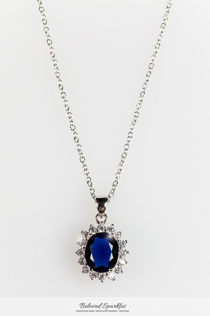 KATE ROYAL SAPPHIRE BLUE OVAL HALO PENDANT NECKLACE | 6.5 Carat | 3 Carat | Cubic Zirconia